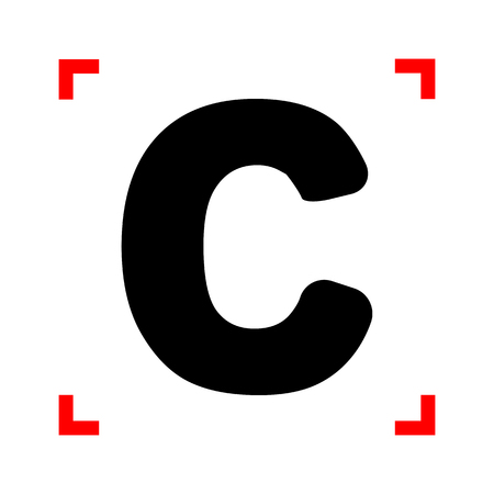 corne: Letter C sign design template element. Black icon in focus corne Illustration