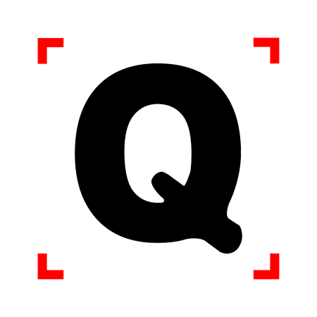 corne: Letter Q sign design template element. Black icon in focus corne Illustration