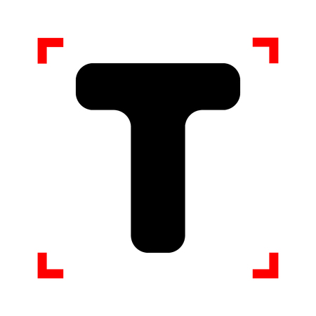 corne: Letter T sign design template element. Black icon in focus corne Illustration
