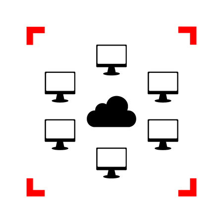 dataset: Computers network sign. Black icon in focus corners on white bac Illustration