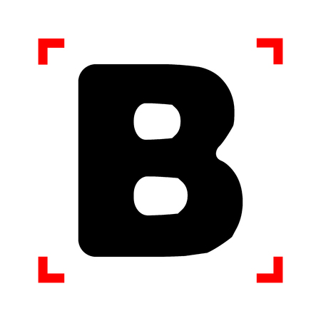 corne: Letter B sign design template element. Black icon in focus corne