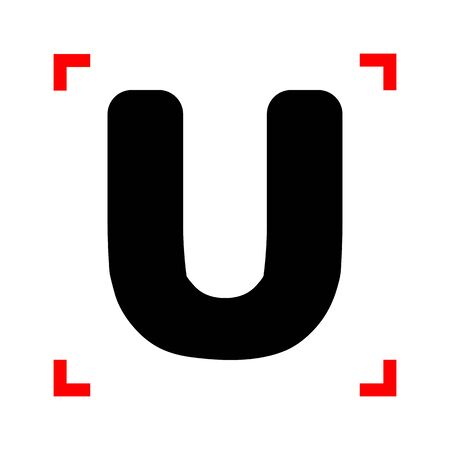 corne: Letter U sign design template element. Black icon in focus corne