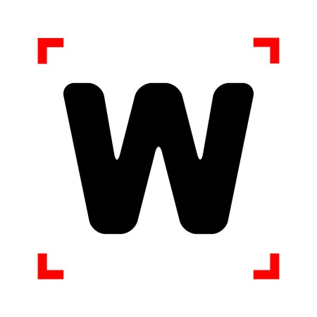 corne: Letter W sign design template element. Black icon in focus corne