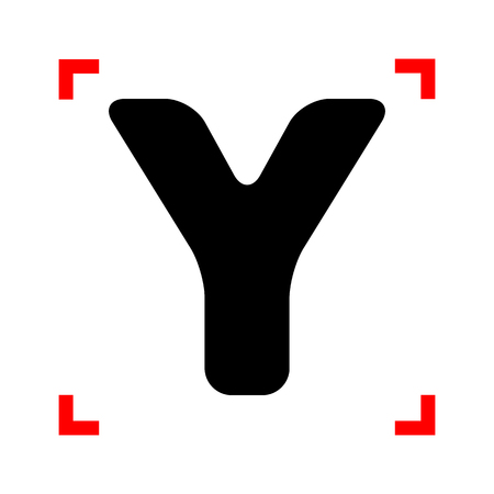 corne: Letter Y sign design template element. Black icon in focus corne