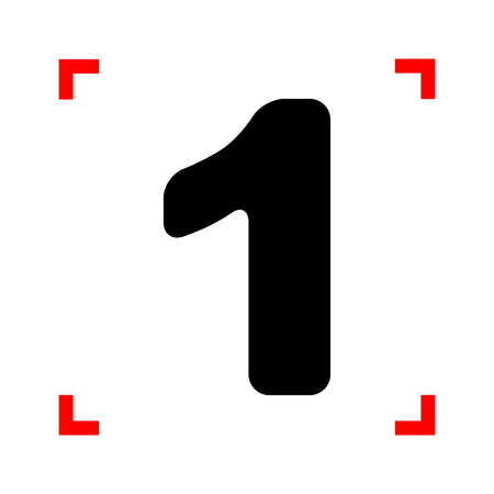 corne: Number 1 sign design template element. Black icon in focus corne Illustration