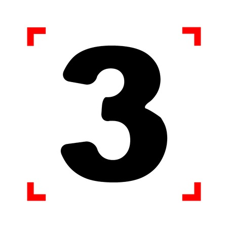 corne: Number 3 sign design template element. Black icon in focus corne