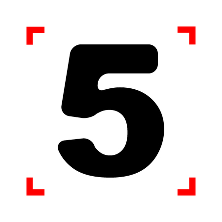 corne: Number 5 sign design template element. Black icon in focus corne