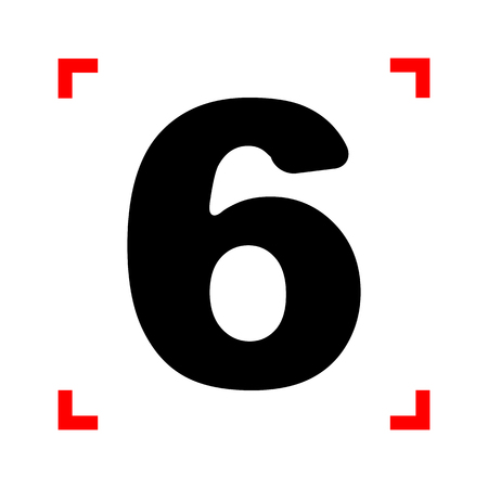 corne: Number 6 sign design template element. Black icon in focus corne