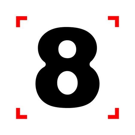 corne: Number 8 sign design template element. Black icon in focus corne Illustration