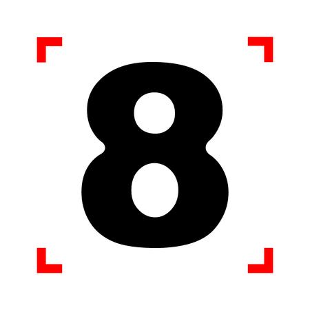 Number 8 sign design template element. Black icon in focus corne Illustration