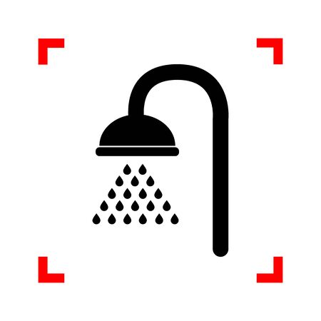 rinse: Shower sign. Black icon in focus corners on white background. Is