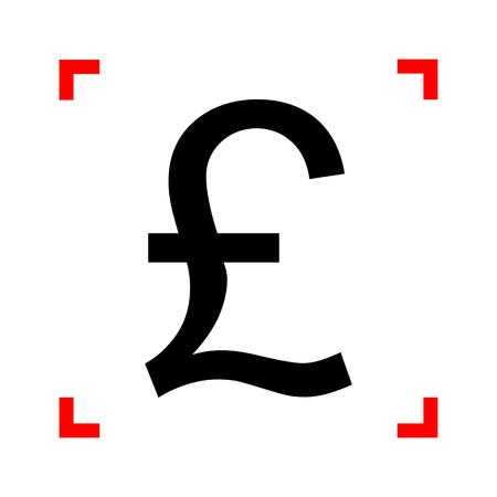 helvetica: Turkish lira sign. Black icon in focus corners on white backgrou Illustration