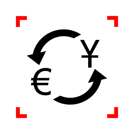 cor: Currency exchange sign. Dollar and Euro. Black icon in focus cor