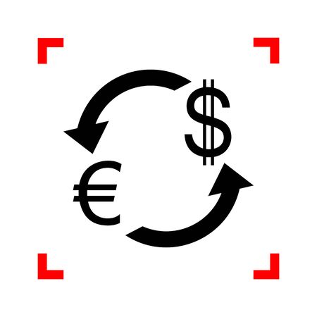 cor: Currency exchange sign. Euro and Dollar. Black icon in focus cor