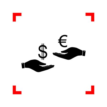 Currency exchange from hand to hand. Dollar adn Euro. Black icon Stock Illustratie