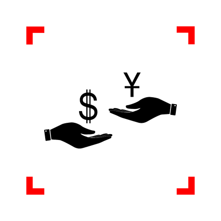 lira: Currency exchange from hand to hand. Dollar and Yuan. Black icon