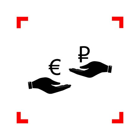 lira: Currency exchange from hand to hand. Euro and Rouble. Black icon
