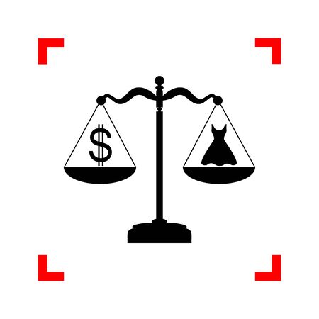 beautifull woman: Dress and dollar symbol on scales. Black icon in focus corners o Illustration