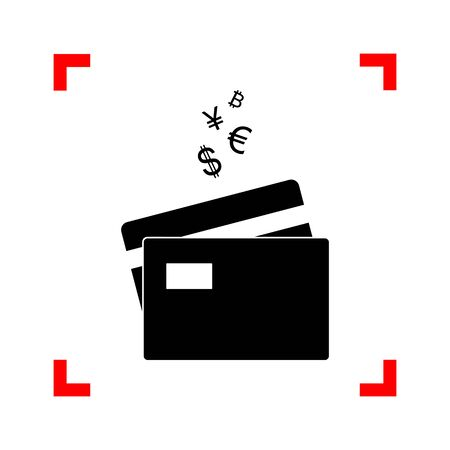 cor: Credit cards sign with currency symbols. Black icon in focus cor
