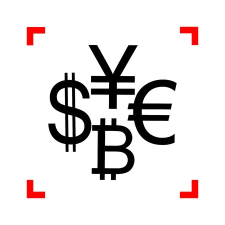 Currency sign collection dollar, euro, bitcoin, yen. Black icon