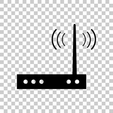 Wifi modem sign. Black icon on transparent background.