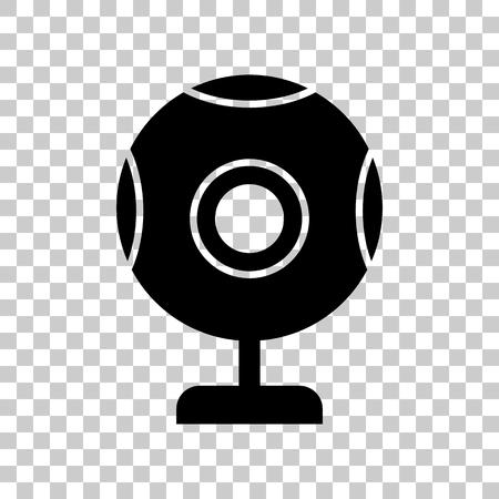 acquaintance: Chat web camera sign. Black icon on transparent background.