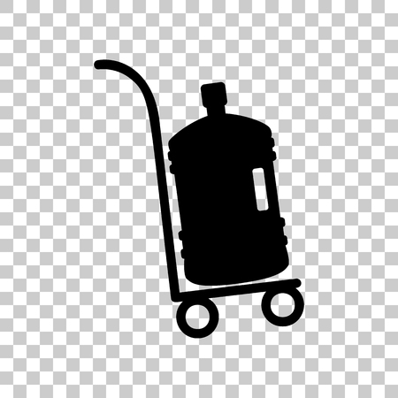 Plastic bottle silhouette with water. Big bottle of water on tra Vektoros illusztráció