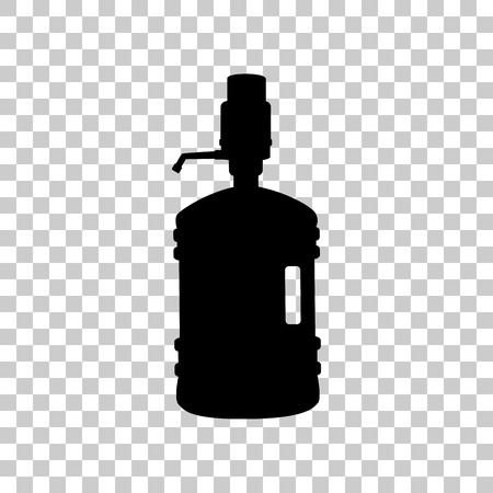 purified: Plastic bottle silhouette with water and siphon. Black icon on t Illustration