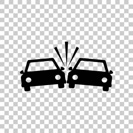 Crashed Cars sign. Black icon on transparent background.