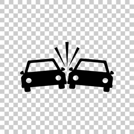 Crashed Cars sign. Black icon on transparent background.