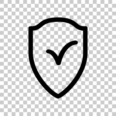 Shield sign as protection and insurance symbol Black icon on tra