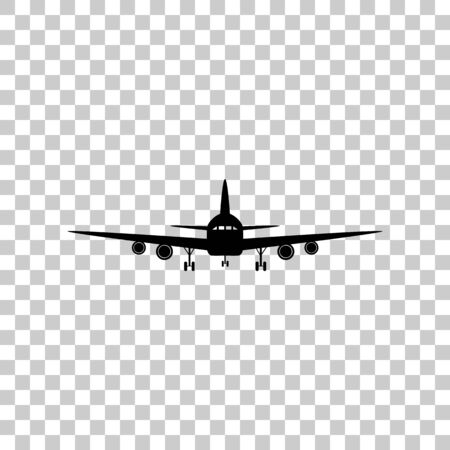 Flying Plane sign. Front view. Black icon on transparent backgro
