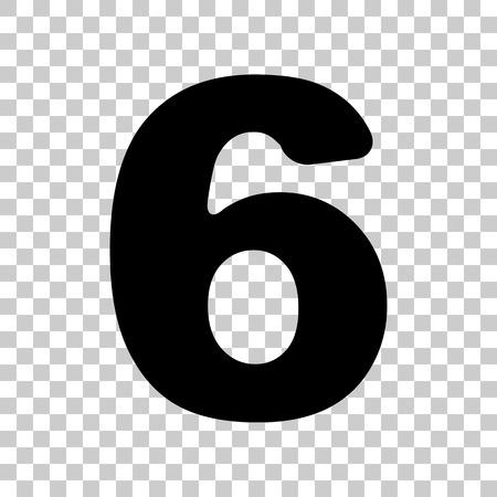 Number 6 sign design template element. Black icon on transparent