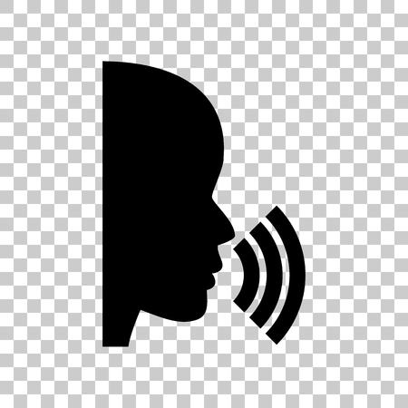 black people: People speaking or singing sign. Black icon on transparent backg
