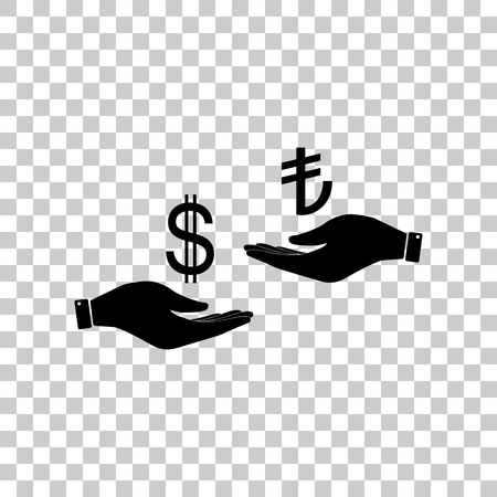 Currency exchange from hand to hand. Dollar and Turkey Lira. Bla