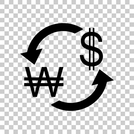 abstract recycle arrows: Currency exchange sign. South Korea Won and US Dollar. Black ico