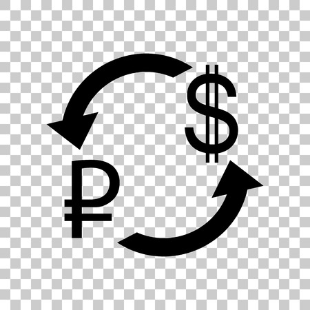 Currency exchange sign. Rouble and US Dollar Black icon on trans