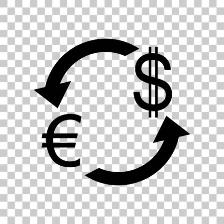 abstract recycle arrows: Currency exchange sign. Euro and US Dollar. Black icon on transp