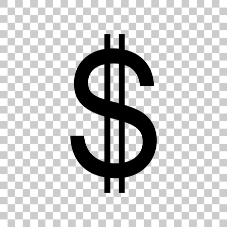 United states Dollar sign. Black icon on transparent background.
