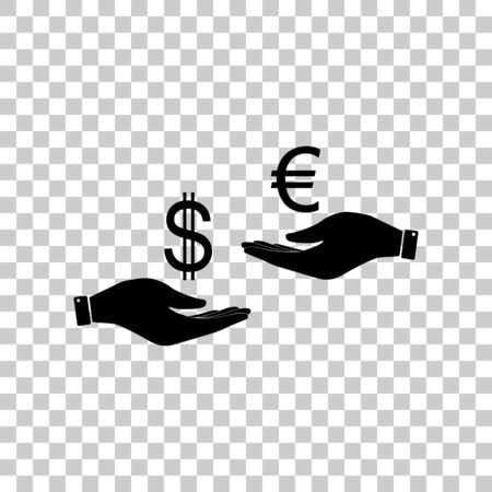 lira: Currency exchange from hand to hand. Dollar adn Euro. Black icon Illustration