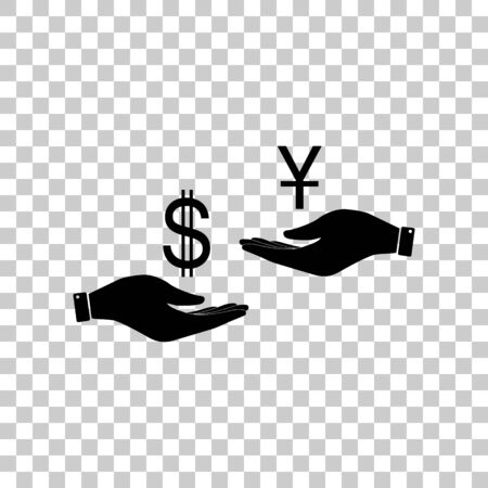 Currency exchange from hand to hand. Dollar and Yuan. Black icon