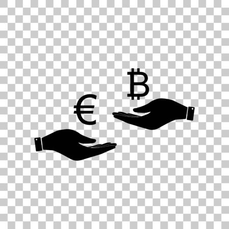 lira: Currency exchange from hand to hand. Euro an Bitcoin. Black icon
