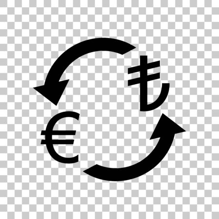 Currency exchange sign. Euro and Turkey Lira. Black icon on tran Ilustração