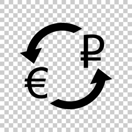 Currency exchange sign. Euro and Russia Rouble. Black icon on tr