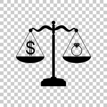 Ring jewelery and dollar symbol on scales. Black icon on transpa