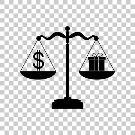 Gift and dollar symbol on scales. Black icon on transparent back
