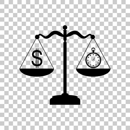 Stopwatch and dollar symbol on scales. Black icon on transparent Illustration