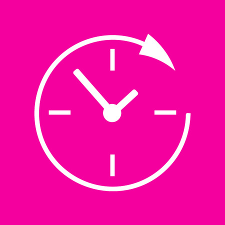 Service and support for customers around the clock and 24 hours. White icon at magenta background. Illustration