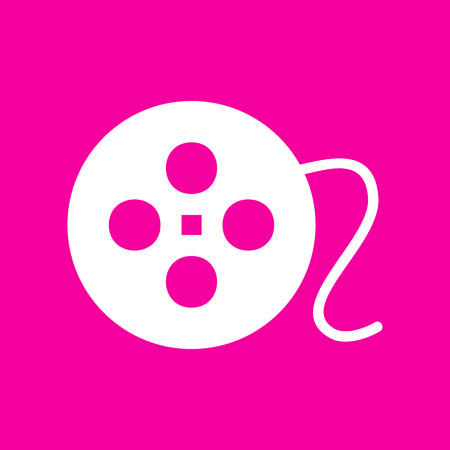 Film circular sign. White icon at magenta background.