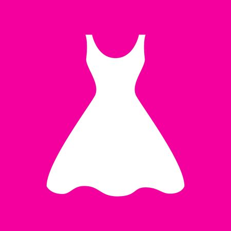 magenta dress: Woman dress sign. White icon at magenta background.
